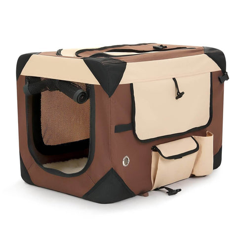 Image of Portable Foldable Soft Dog Crate Brown