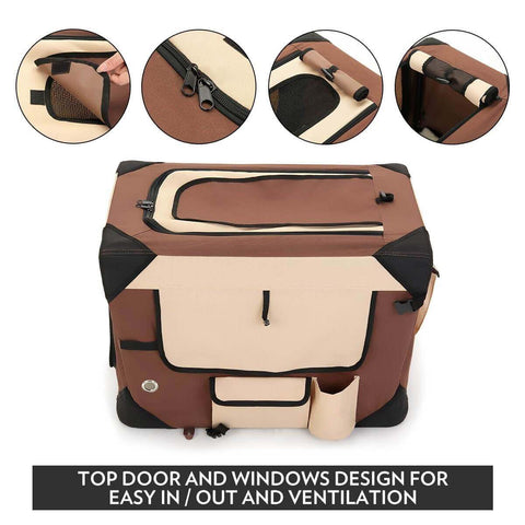 Image of Portable Foldable Soft Dog Crate Top Door and Windows Design