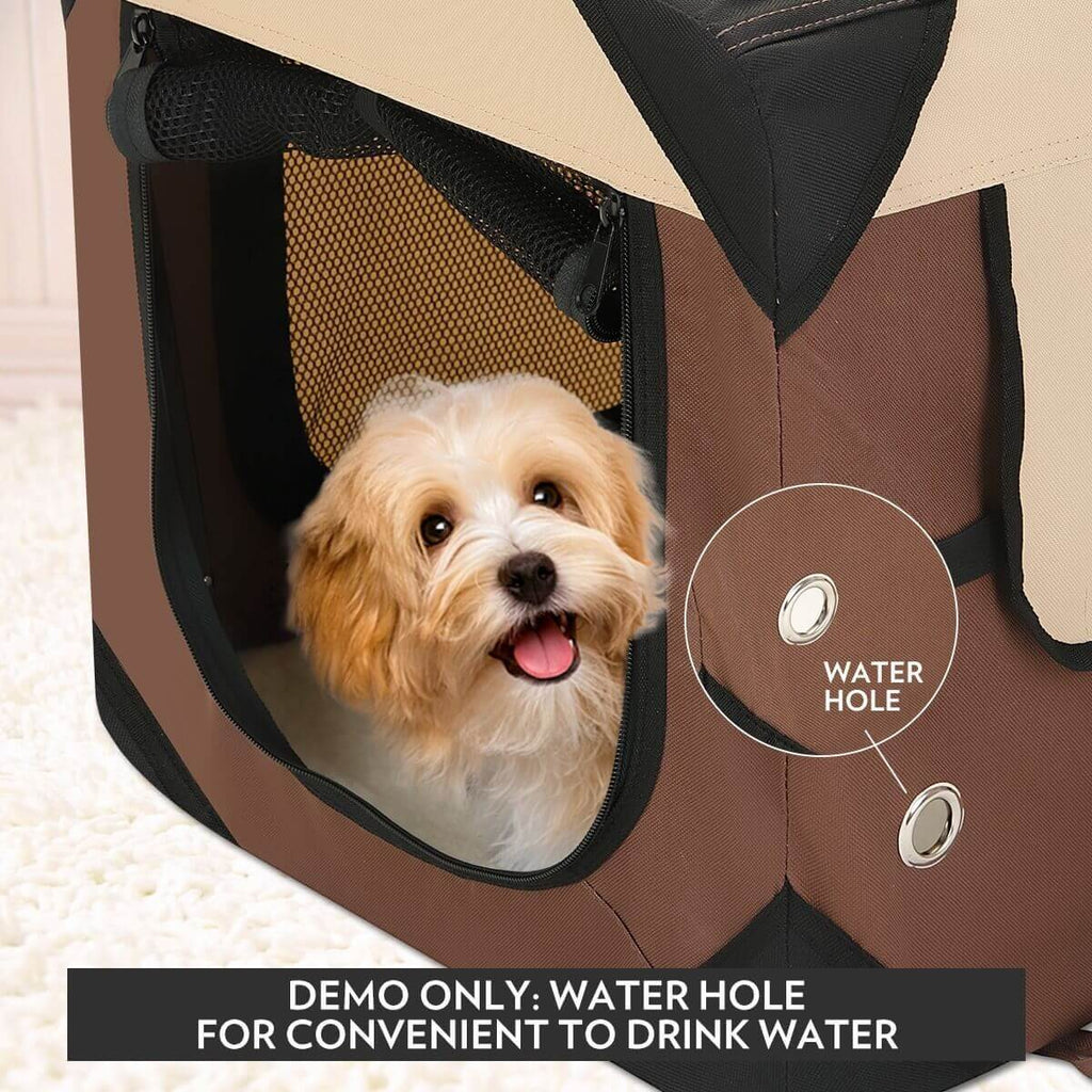 Portable Foldable Soft Dog Crate with Water Hole