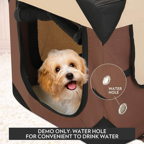 Image of Portable Foldable Soft Dog Crate with Water Hole