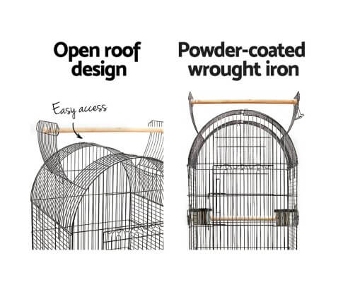 Powder-Coated Wrought Iron Open Dome Roof Design Bird Cage Aviary