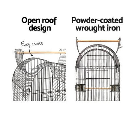 Image of Powder-Coated Wrought Iron Open Dome Roof Design Bird Cage Aviary