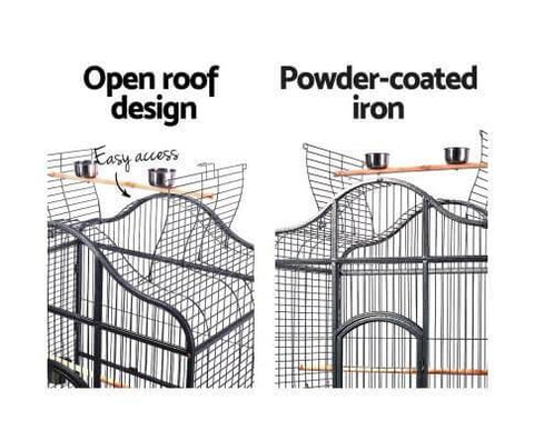 Image of Powder Coated Iron Bird Aviary Cage with Open Roof Design