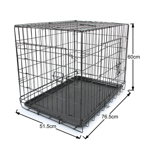 Image of Puppy Dog Portable Dog Crate Dual Door Cage Secure Chrome Black Dimension and Measurement