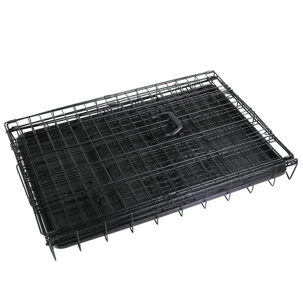 Puppy Dog Portable Dog Crate Dual Door Cage Secure Chrome Black Foldable