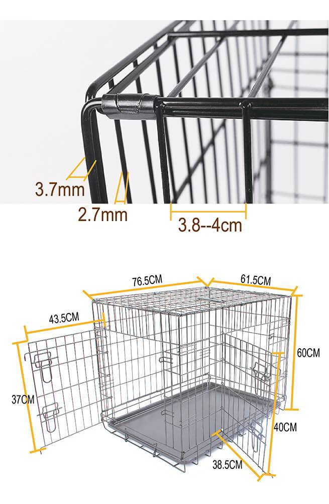 Puppy Dog Portable Dog Crate Dual Door Cage Secure Chrome Black  Measurements and Dimensions