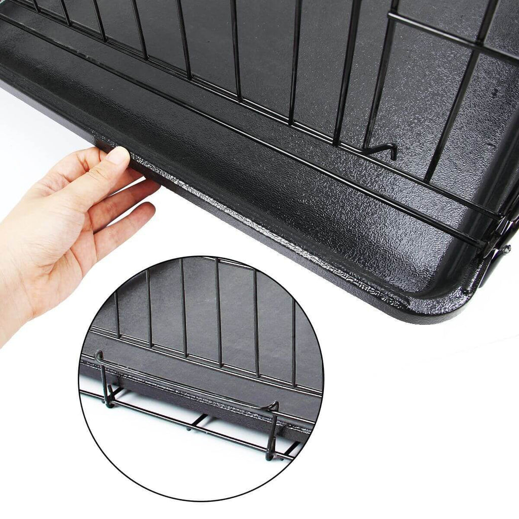 Puppy Dog Portable Dog Crate Dual Door Cage Secure Chrome Black Removable Plastice Tray with Bracket Holder