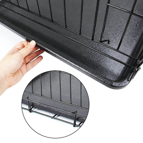 Image of Puppy Dog Portable Dog Crate Dual Door Cage Secure Chrome Black Removable Plastice Tray with Bracket Holder