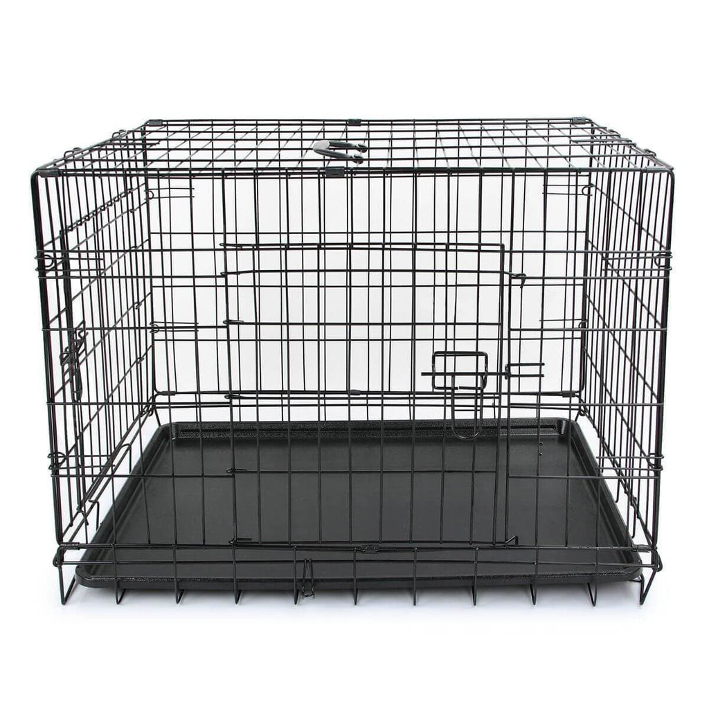 Puppy Dog Portable Dog Crate Dual Door Cage Secure Chrome Black Side