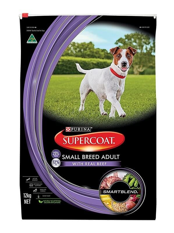 Purina Supercoat Small Breed Dog Food Adult Beef 12kg