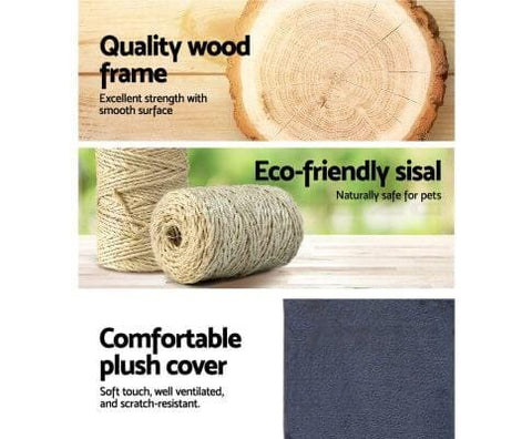 Image of Quality Wood Frame Natural Sisal Blue Plush Cover