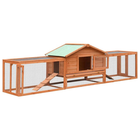 Image of Rabbit Hutch Solid Pine & Fir Wood 303x60x86 cm Everyday Pets
