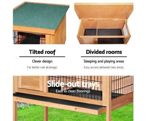 Rabbit Cage Hutch with Title Roof and Divided Rooms