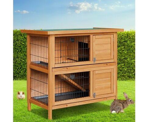Image of Rabbit Guinea Pig Hutch Double Storey w Waterproof Green Asphalt Roof - 82 x 91.5 x 45cm