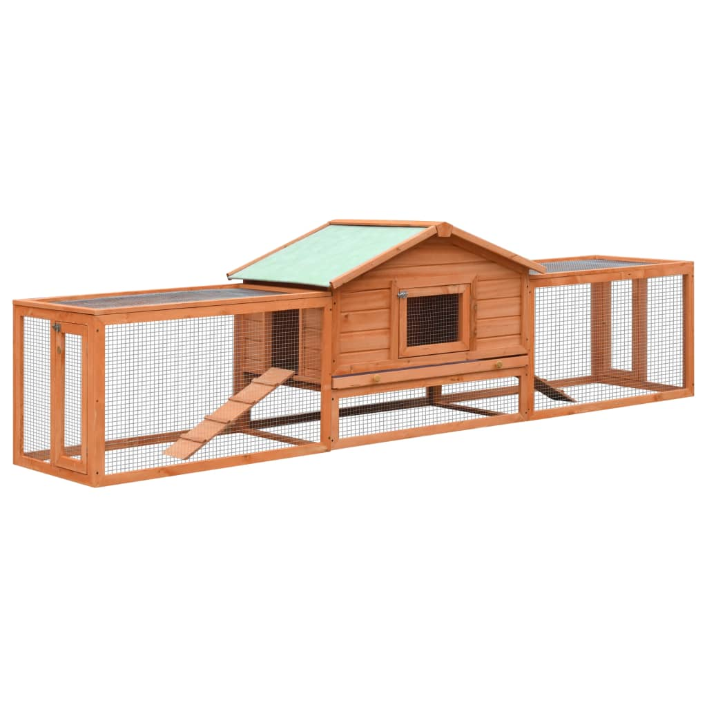 Rabbit Hutch Solid Pine & Fir Wood 2 Layers Everyday Pets