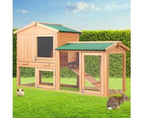 Image of Rabbit Hutch Chicken Coop Cage Guinea Pig Ferret House w 2 Storeys Run Large