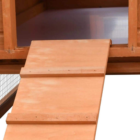 Image of Rabbit Hutch Solid Pine & Fir Wood Non Slip Ramp Everyday Pets