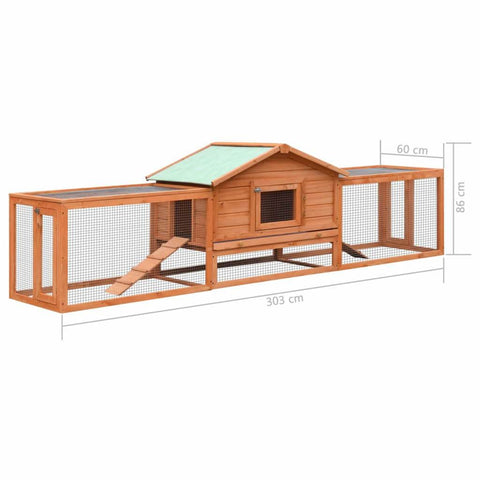 Image of Rabbit Hutch Solid Pine & Fir Wood Product Dimensions Everyday Pets