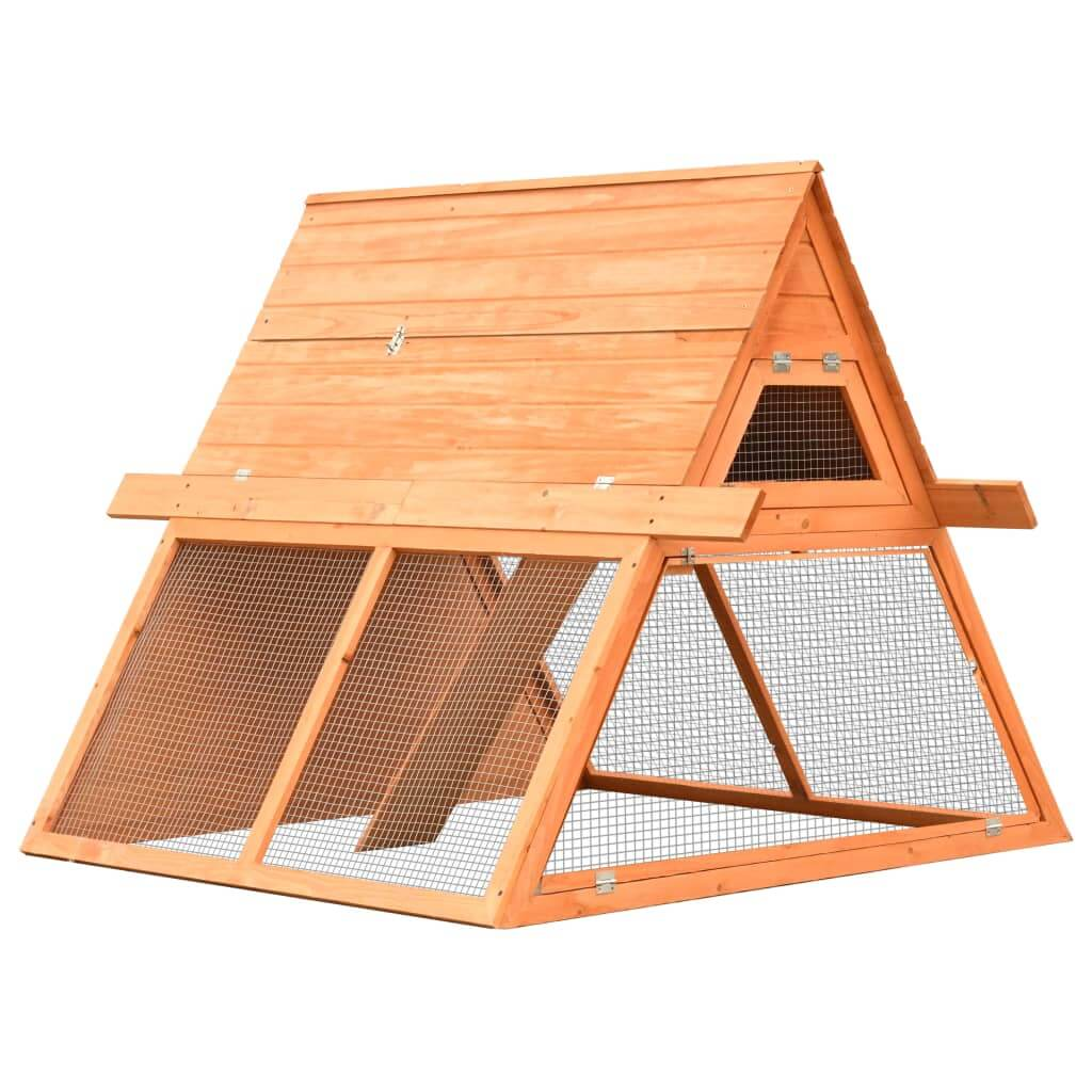 Rabbit Hutch Solid Pine and Fir Wood 152x128x108 cm Everyday Pets