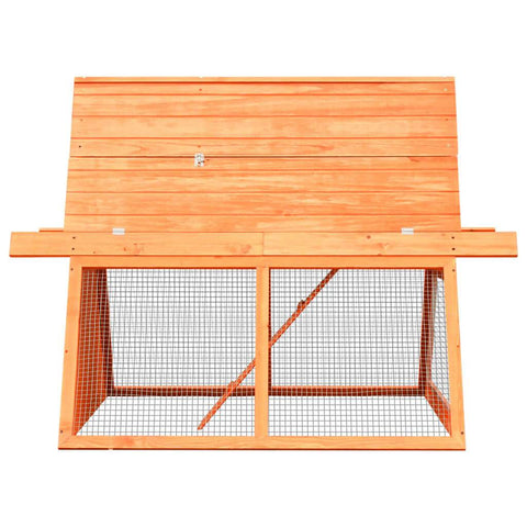 Image of Rabbit Hutch Solid Pine and Fir Wood Side View Everyday Pets