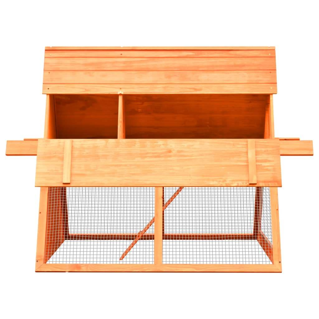Rabbit Hutch Solid Pine and Fir Wood Side View with Access Door Open Everyday Pets