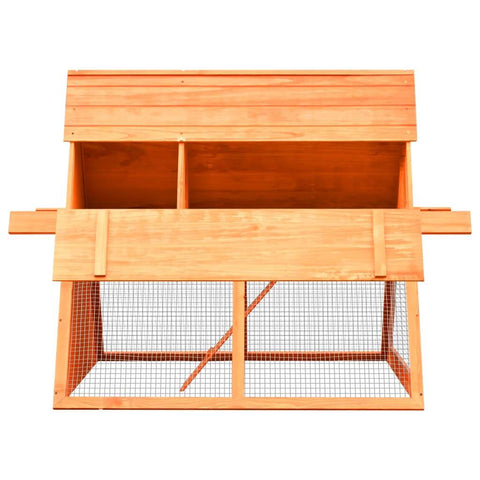 Image of Rabbit Hutch Solid Pine and Fir Wood Side View with Access Door Open Everyday Pets