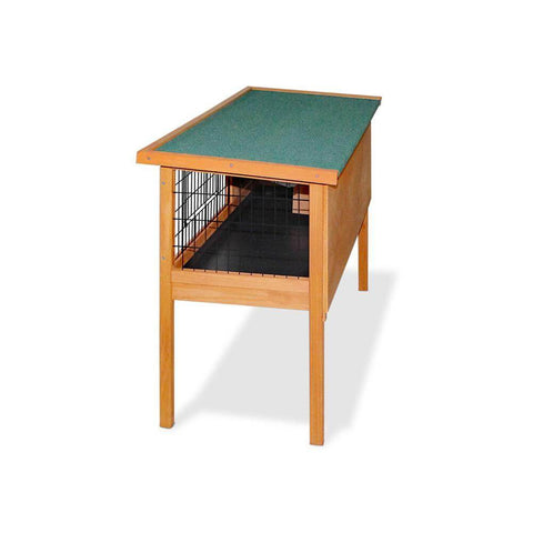 Rabbit Hutch with Angled Green Asphalt Roof
