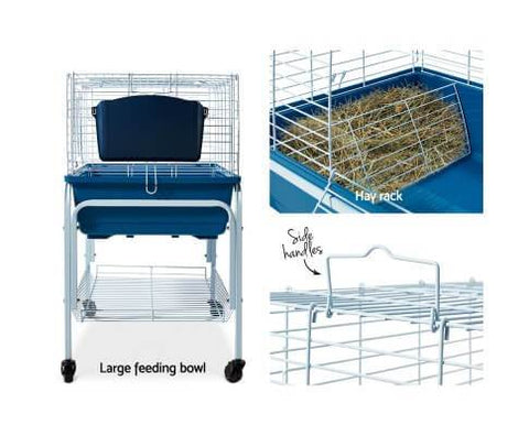Image of Rabbit Hutch with Feeding Bowl and Hay Rack