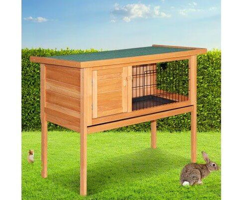 Image of Rabbit Hutch with Hinged Lid