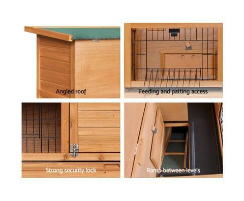 Rabbit Hutch with Strong and Firm Security Locks and Built-in Foldable Ramp