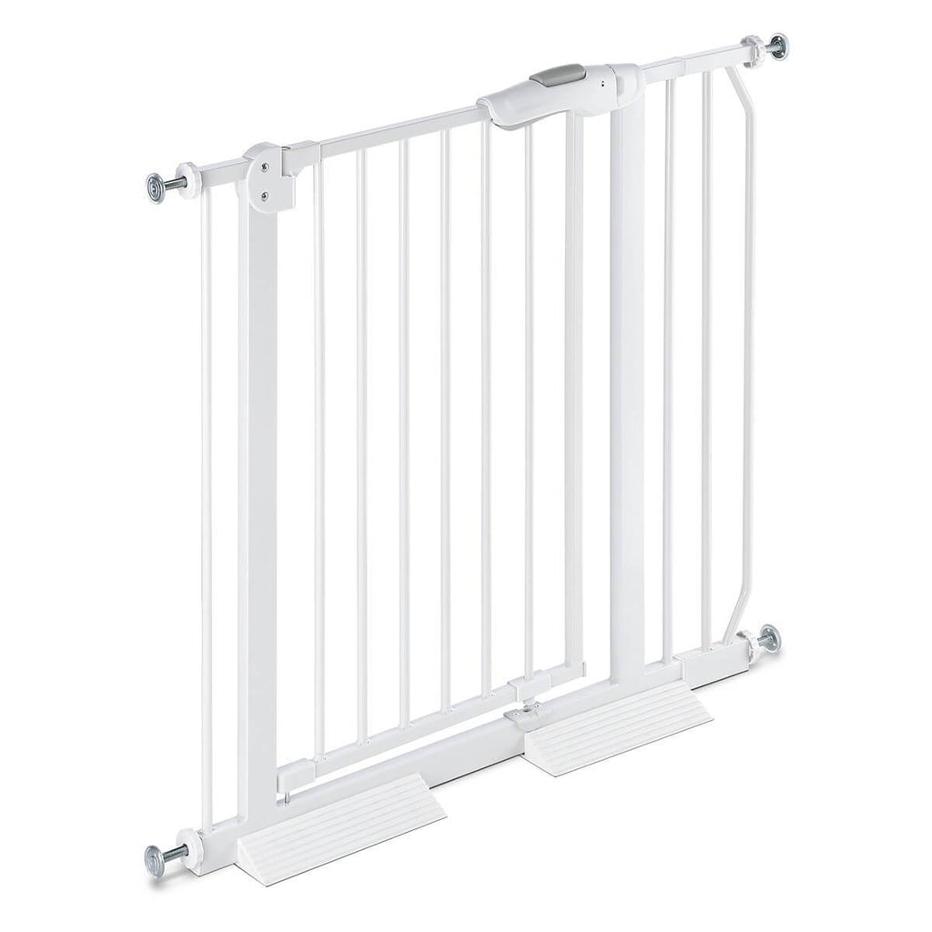 Child Pet Safety Gates Adjustable Baby Gate With A 10Cm Extension Barrier 77Cm Height 75~95Cm Width - White