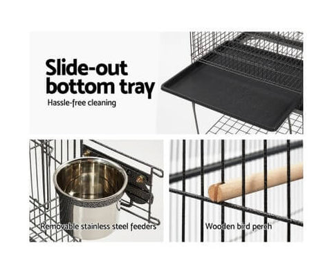 Image of Slide-Out Bottom Tray Steel Feeders and Wooden Perch for Bird Cage Aviary