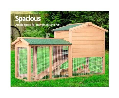 Spacious Integrated Ground Enclosed Play Area Pig Ferret Guinea Hutch Cage Chicken Coop