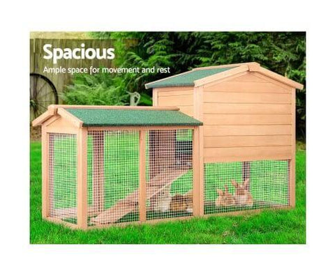Image of Spacious Integrated Ground Enclosed Play Area Pig Ferret Guinea Hutch Cage Chicken Coop
