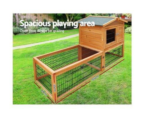 Image of Spacious Integrated Ground Enclosed Play Area Rabbit Small Pet Hutch Cage