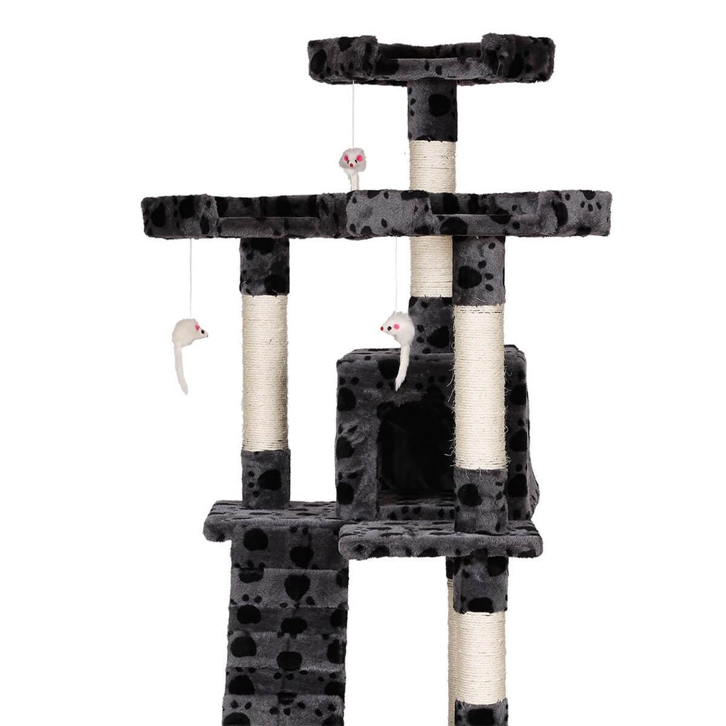 Sturdy 170cm Grey Cat Printed Fabric Tower Play Perch Climb Scratch Tree