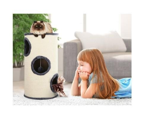 Sturdy 70cm Tall 3 Hiding Spots Claw Conditioning Cat Tower