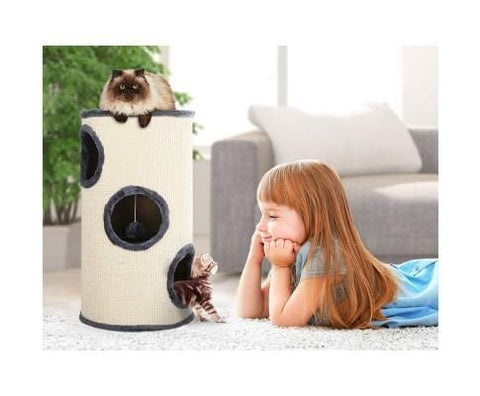 Image of Sturdy 70cm Tall 3 Hiding Spots Claw Conditioning Cat Tower