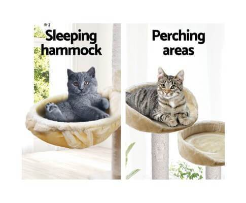 Sturdy Cat Tree with Sleeping Hammock and Perching Areas