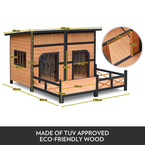 Wooden Dog Home Made of TUV Approved Eco-Friendly Wood - Product Dimensions