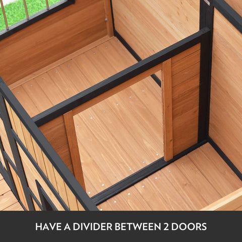 Image of Wooden Dog Home with Divider Between 2 Doors
