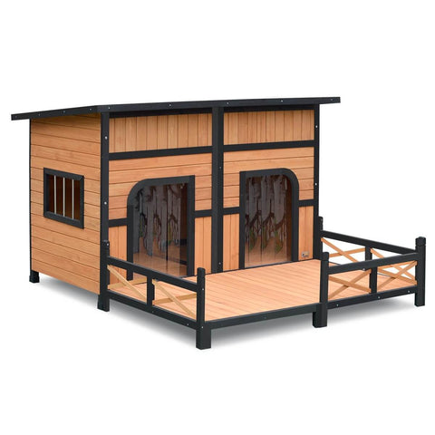 XXL Wooden Dog Kennel 2 Door All-Weather Flat Roof Pet House wPatio - Black
