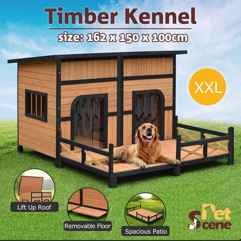 Image of XXL Wooden Dog Kennel 2 Door All Weather Flat Roof Pet House wPatio