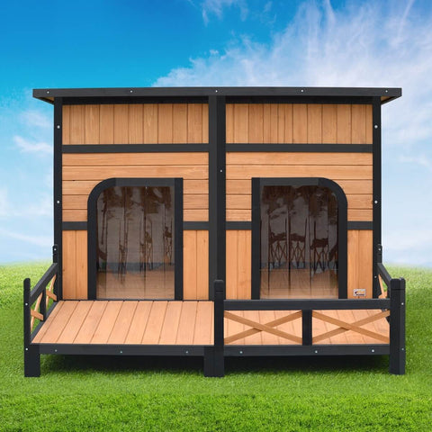 XXL Wooden Dog Kennel 2 Door Timber Kennel