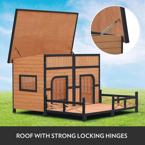 XXL Wooden Dog Kennel Lift Up Roof with Strong Hinges