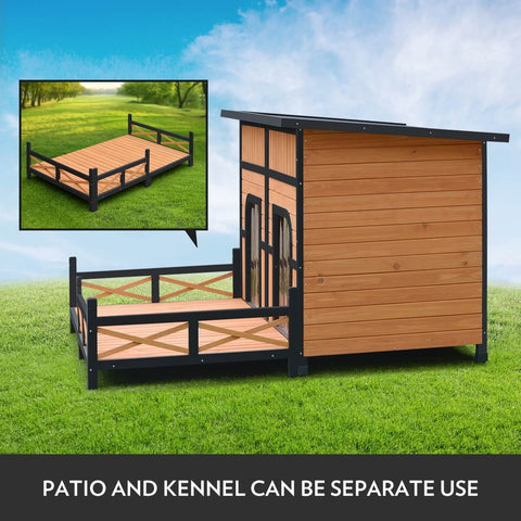 Image of XXL Wooden Dog Kennel Patio