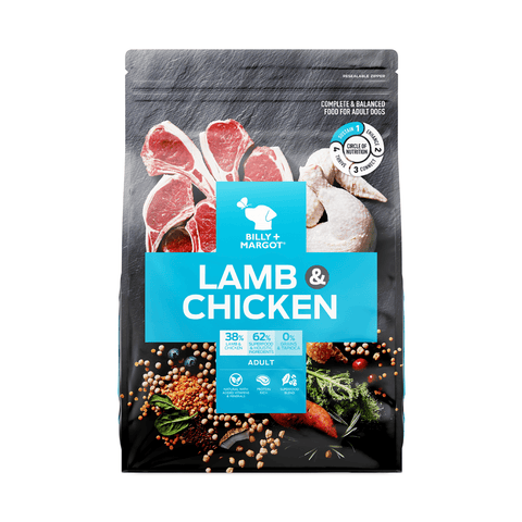 Image of Billy + Margot Grain Free Lamb & Chicken Dry Dog Food 12kg Everyday Pets