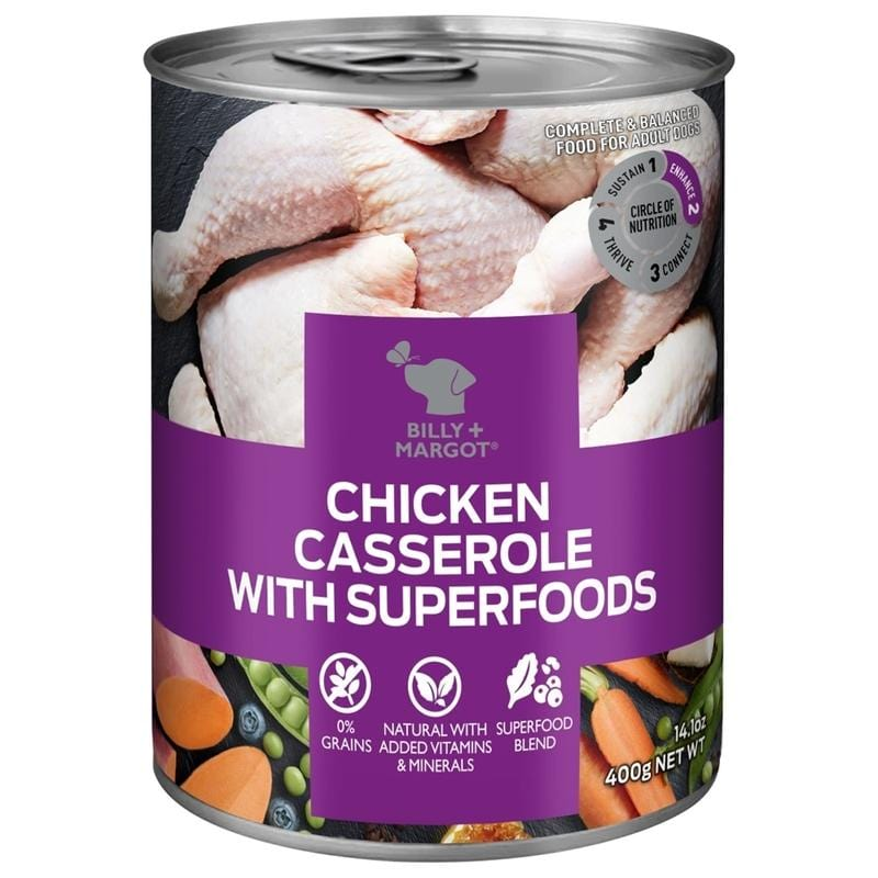 Billy + Margot Grain Free Wet Food Superfood Blend Chicken Casserole 12 x 400g Everyday Pets