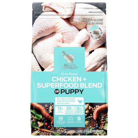 Image of Billy + Margot Grain Free Superfood Blend Puppy Chicken Dry Dog Food 1.8kg Everyday Pets