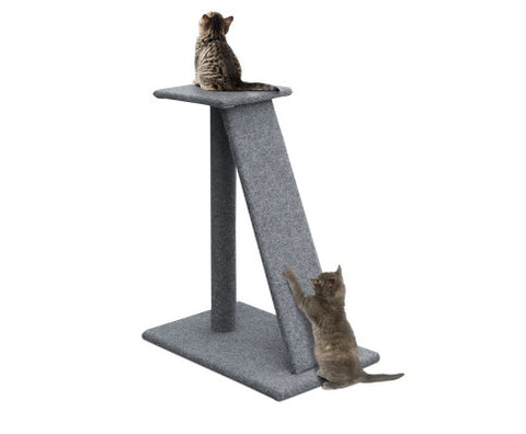Cat Tree Climbing Scratching Post with Ramp - Grey - 60 x 40 x 82cm